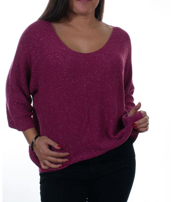 Mályva csillogós bőfazonú kötött női pulóver - Női pulóver 77dbe7aafa