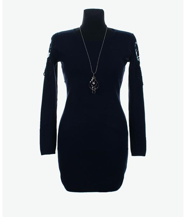Sötétkék csipke betétes finomkötött női tunika - Női pulóver 46a88ab614