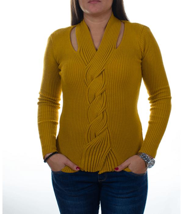 Mustársárga csavart nyakú női kötött pulóver - Női pulóver 13a438d63b