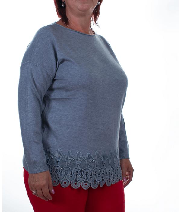 Szürke csipkés finomkötött női pulóver - Női pulóver 23394008e3