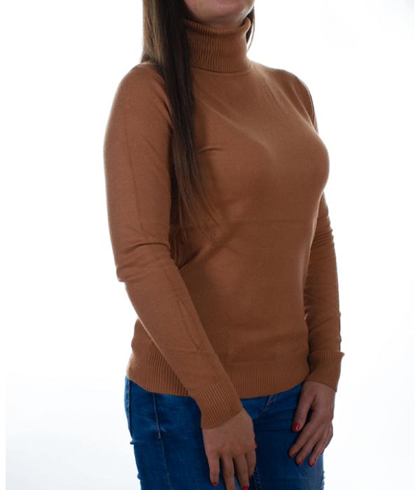 Karamell garbós finomkötött női pulóver - Női pulóver 2a610c3726