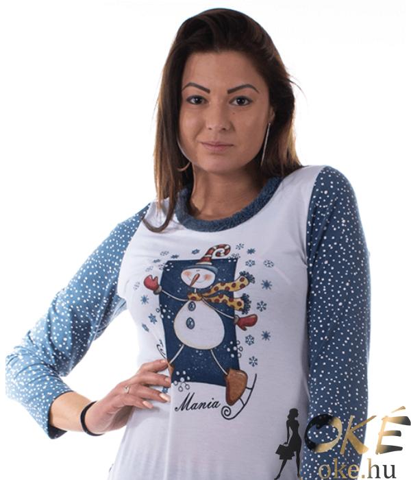 Mania női pamut pizsama karácsonyi hóemberes