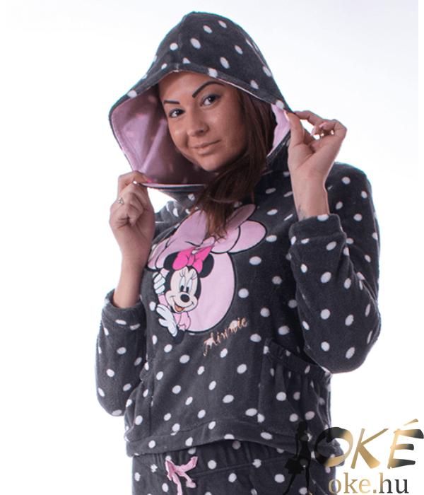 Minnie pihe-puha női wellsoft pizsama kapucnis szürke