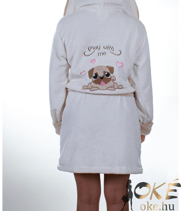 Pinki fehér-bézs kiskutyás pihe puha wellsoft női köntös