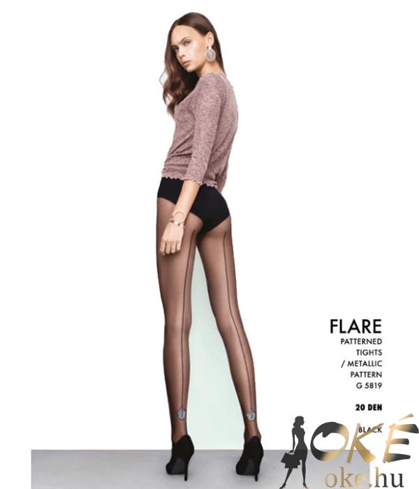 Fiore Flare fekete mintás harisnyanadrág 20D