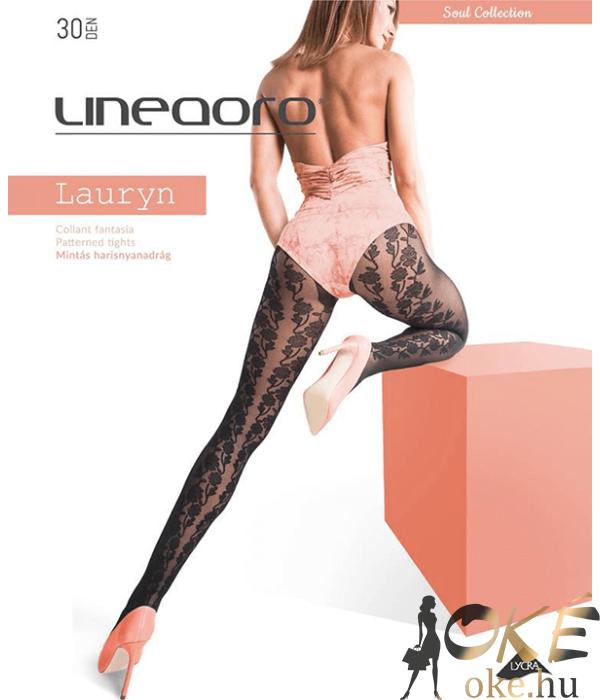 Lineaoro mintás fekete harisnyanadrág 30d Lauryn