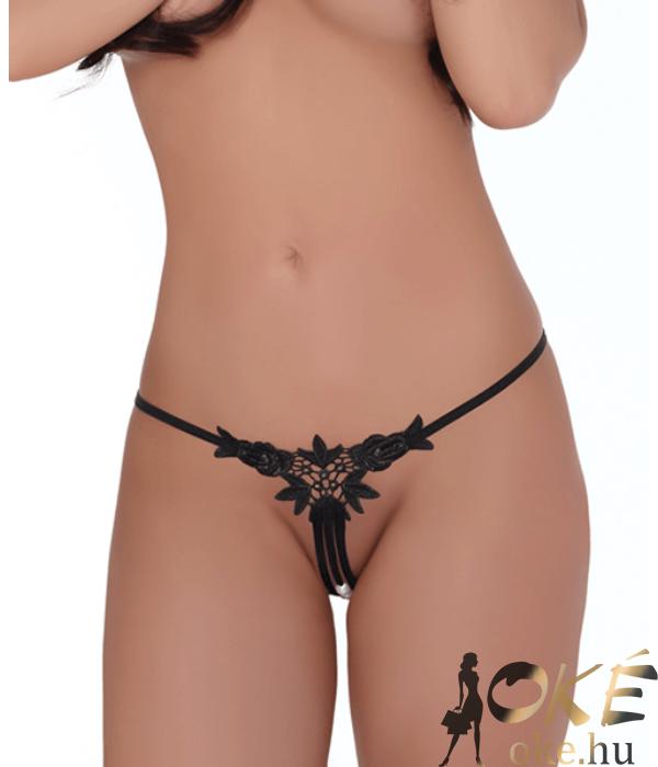 LivCo horgolt nyitott bugyi fekete gyöngysoros Chenda