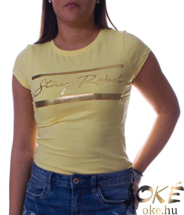 Sárga női póló arany felirattal