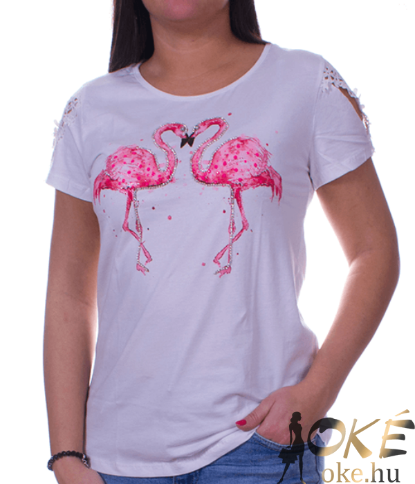 Fehér strasszos flamingós női felső
