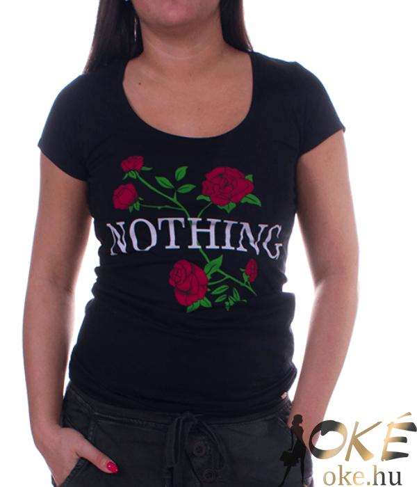 Rózsa nothing fekete női felső