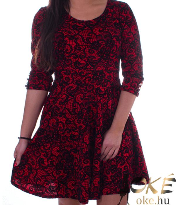 Piros-fekete csipkemintás női alkalmi ruha