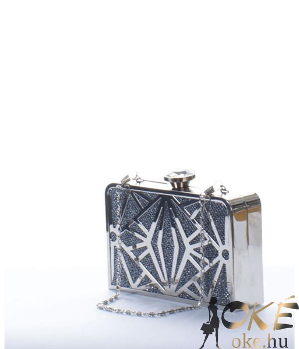 Ezüst díszköves női alkalmi táska lánc pánttal
