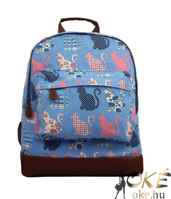 Világoskék cicamintás női hátizsák