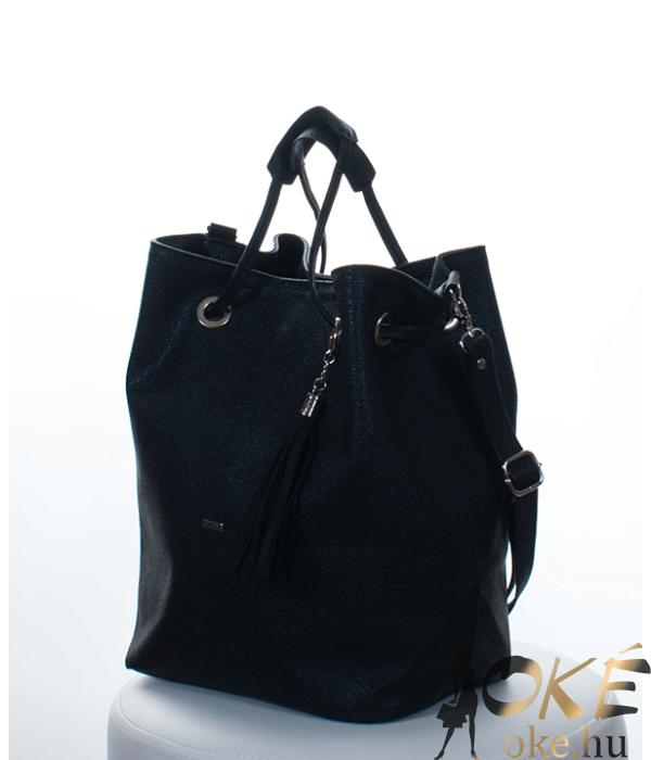Via.55 fekete gyöngyház női táska