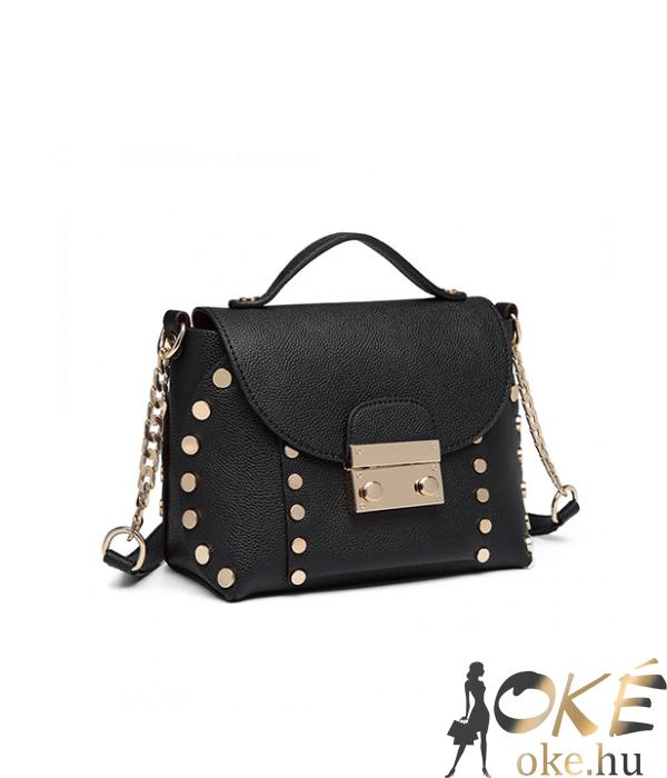Miss Lulu fekete divatos női táska lánc pánttal