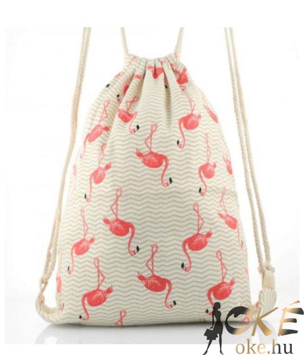 Flamingós bézs női divatos tornazsák
