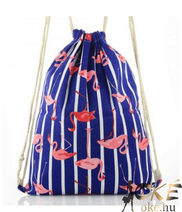 Flamingós női divatos tornazsák kék