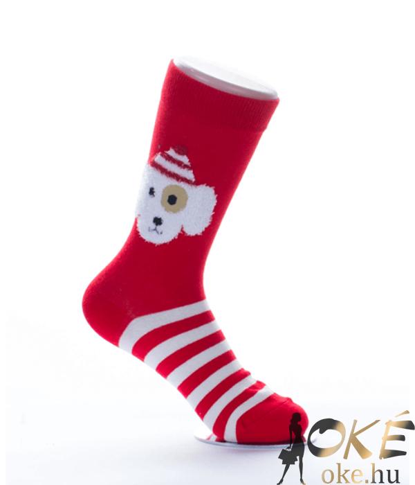 Piros kiskutyás női pamut zokni