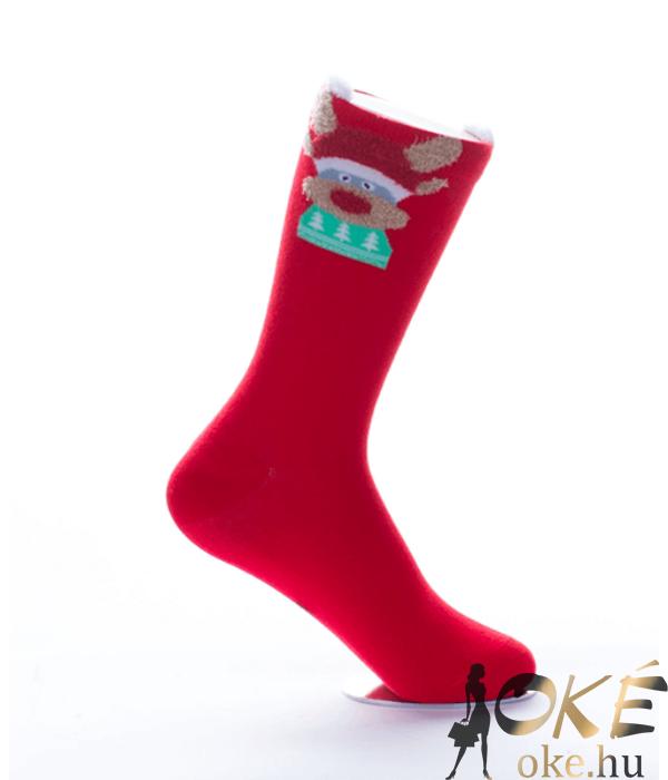 Piros rénszarvasos női pamut zokni